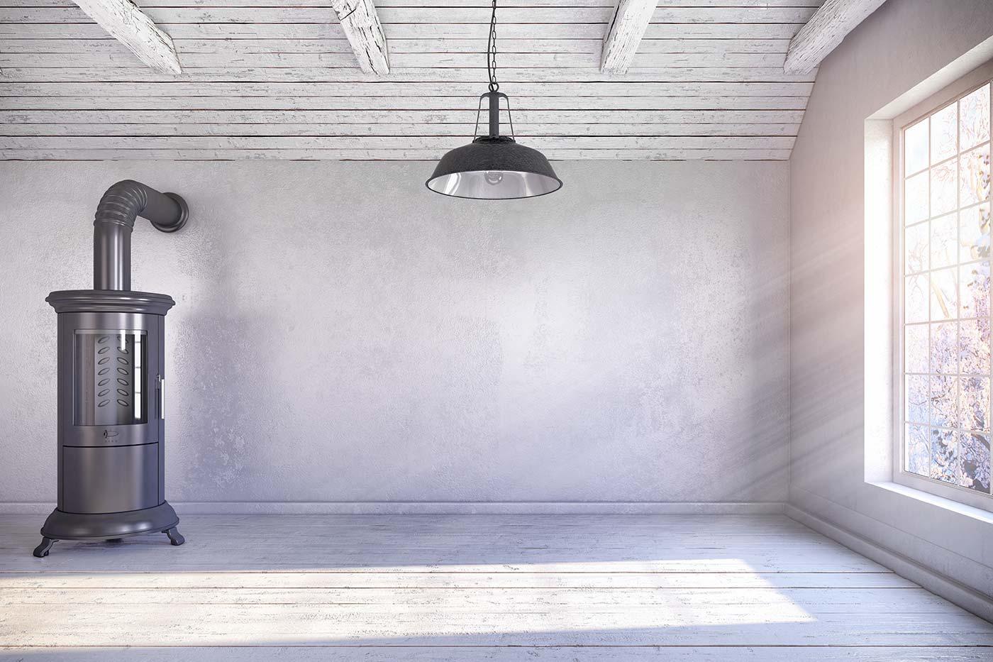Ventilation och kamin inomhus